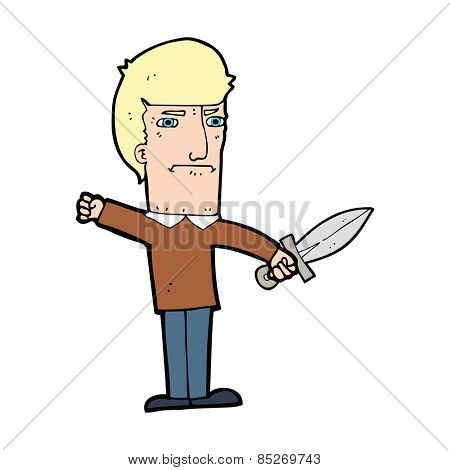 cartoon man holding a dagger