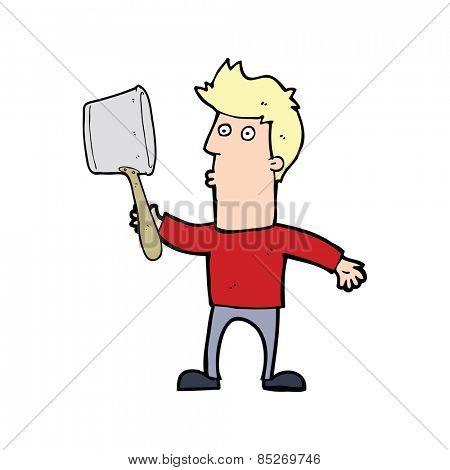 cartoon confused man cooking