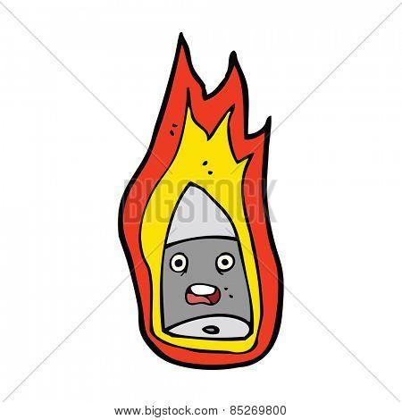 cartoon flaming bullet