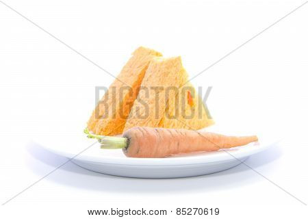 Carrot Bread Sandwich Sliced With Raw Material