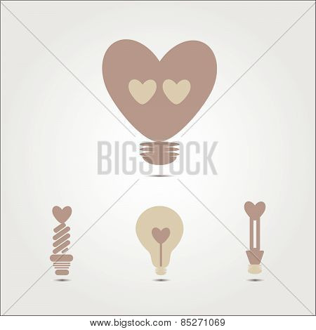 Heart Shape In A Light Bulb