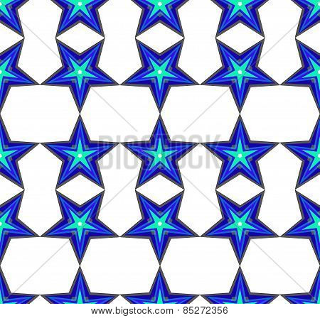 Seamless pattern with a blue stars
