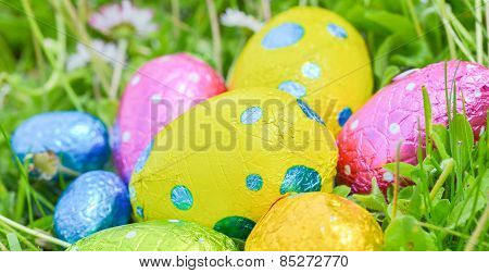 Colorful Easter Egg Deposited On The Prairie Grass