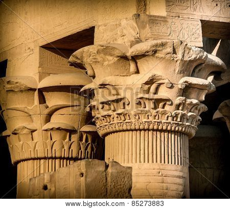 Columns Capitals At Kom-ombo (egypt)