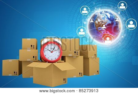 Postal boxes on them alarm clock. Backdrop of earth, network