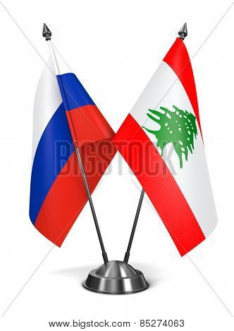 Russia and Lebanon - Miniature Flags.