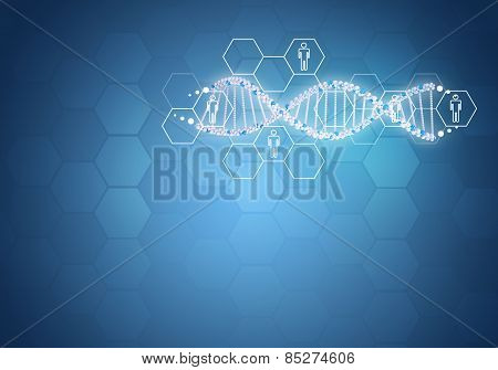 Unites all human gene DNA. Background with hexagon and information board