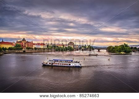 River In Prague In The Evening