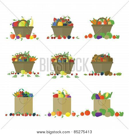 Fruits And Vegetables In Basket. Set Of Vector Objects