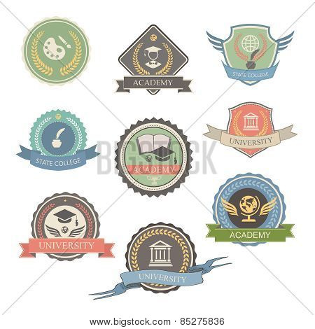 University Emblems And Symbols - Isolated   Illustration, Graphic Design college Logo