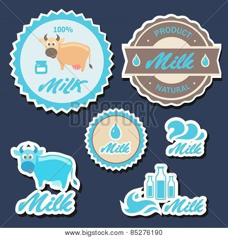 Set of  labels and icons for milk in