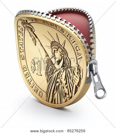 One Dollar coin with zipper