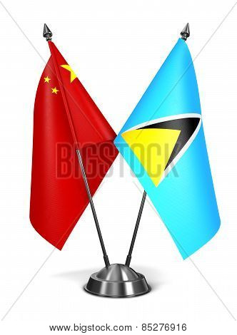 China and Saint Lucia - Miniature Flags.
