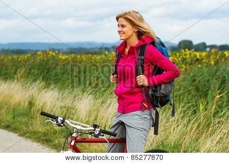 Woman with a bike
