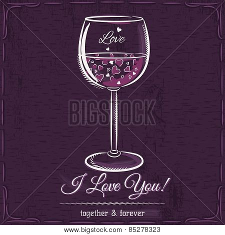 Purple Love Card With A Glass Of Wine Filled With Hearts