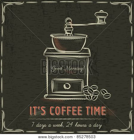 Brown Blackboard With  Coffee Mill And Text, Vector