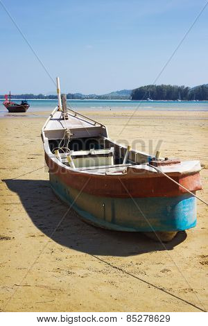 Boat On Land In The Area Of Sea Tide