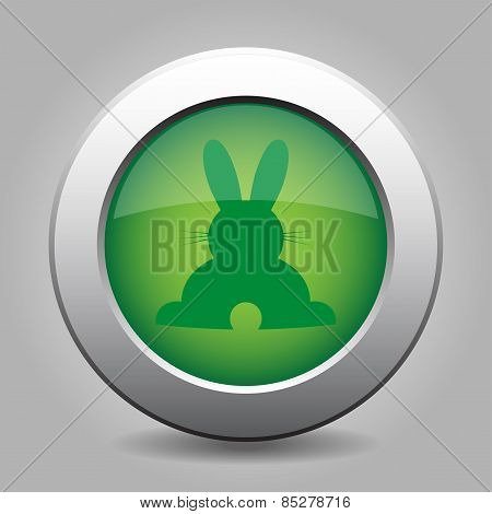 Green Metal Button With Back Easter Bunny