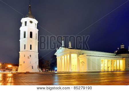 Vilnius Cathedral Place On Winter Morning Time