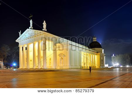 Vilnius Cathedral Place On Winter Evening Time