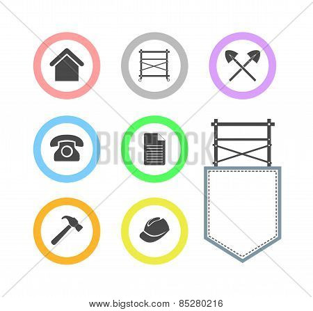 Set Of Scaffolding Round Icons For Web Site