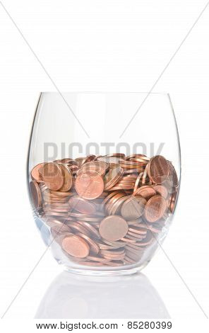 Euro Coins In Glass