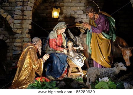 GRAZ, AUSTRIA - JANUARY 10, 2015: Nativity scene, creche, or crib, birth of Jesus in Franciscan Church in Graz, Styria, Austria on January 10, 2015.