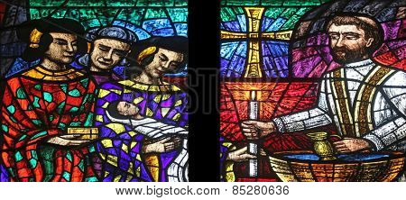 VIENNA, AUSTRIA - OCTOBER 11: Asia window, Stained glass in Votiv Kirche (The Votive Church). It is a neo-Gothic church in Vienna, Austria on October 11, 2014