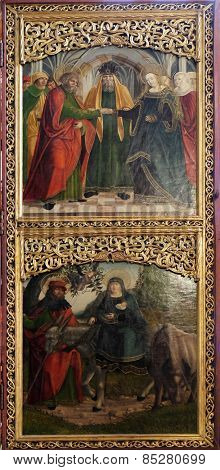 HALLSTATT, AUSTRIA - DECEMBER 13: Engagement of the Virgin Mary, Flight to Egypt, altar in Maria am Berg church on December 13, 2014 in Hallstatt, Austria.