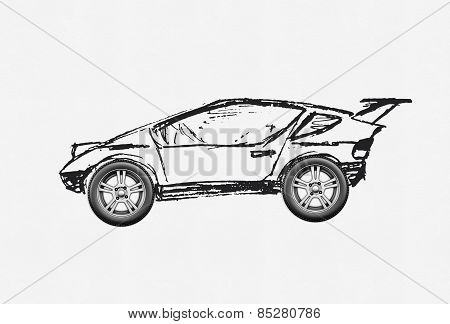 The Concept Of The Car Is Drawn By Hand