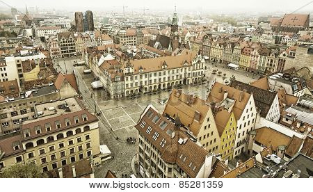 Top view of Wroclaw old town, old style, sepia.