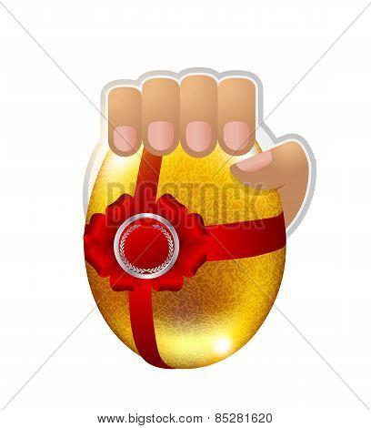 Logo Easter Egg In The Hand.