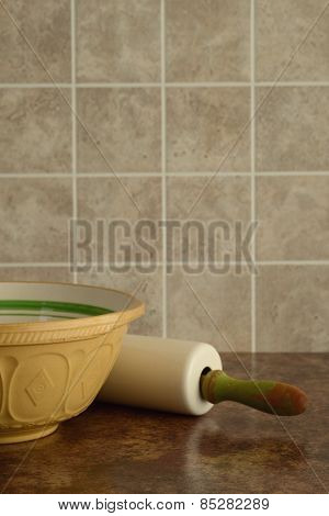 bowl with rolling pin