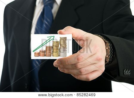 Businessman Showing Card With Growing Savings