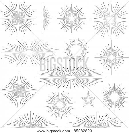 Set of vintage handdrawn sunbursts in different shapes