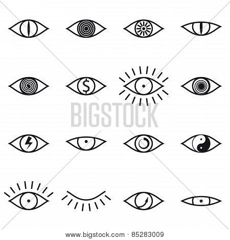 Set of Various Eye Icons on White Background