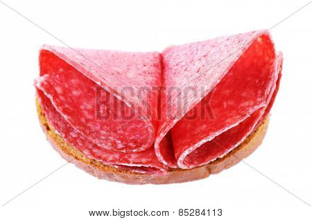 Sandwich with salami isolated on white