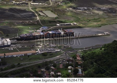 Cargo Ships at Miraflores Locks