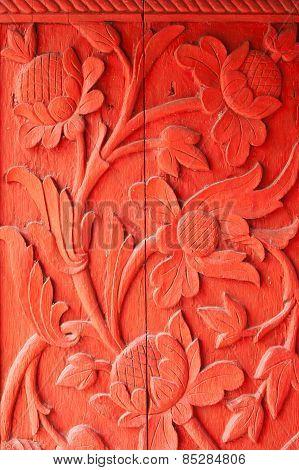 Wood Carved Red Flowers.