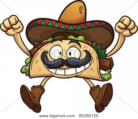 Happy cartoon taco with Mexican sombrero. Vector clip art illustration with simple gradients. All in a single layer.