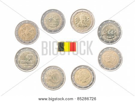 Set Of Commemorative 2 Euro Coins Of Belgium