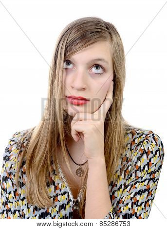 Dreamy Teenage Girl On A White Background