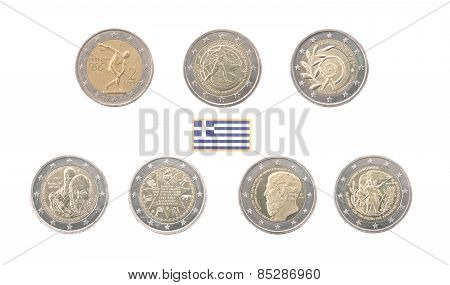 Set Of Commemorative 2 Euro Coins Of Greece