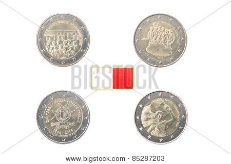 Set Of Commemorative 2 Euro Coins Of Malta
