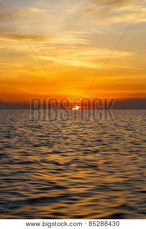 Sunrise Boat Sea In Thailand Kho Tao Bay Coastline South China Sea