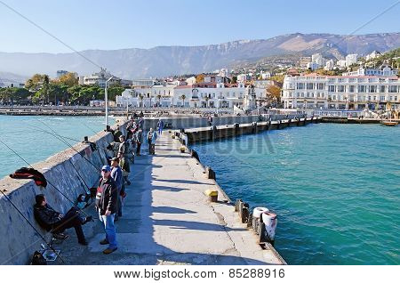 Fishermen On The Seafront Of Yalta