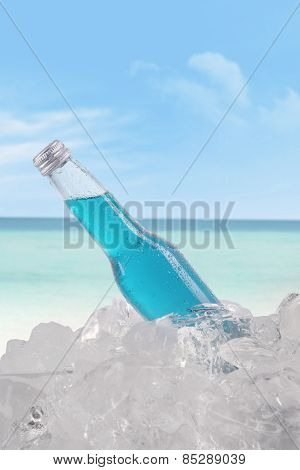 Beer With Ice Cube At Beach