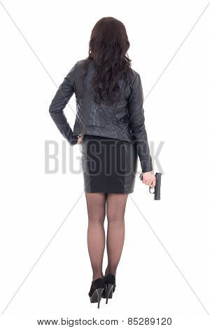 Back View Of Sexy Woman Holding Gun Isolated On White