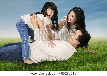 Cheerful Family Joking Together At Field
