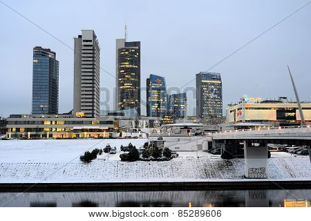Vilnius Winter Skyscrapers Morning Time Panorama